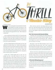 The Thrill of Mountain Biking article in the Litchfield County Sports magazine